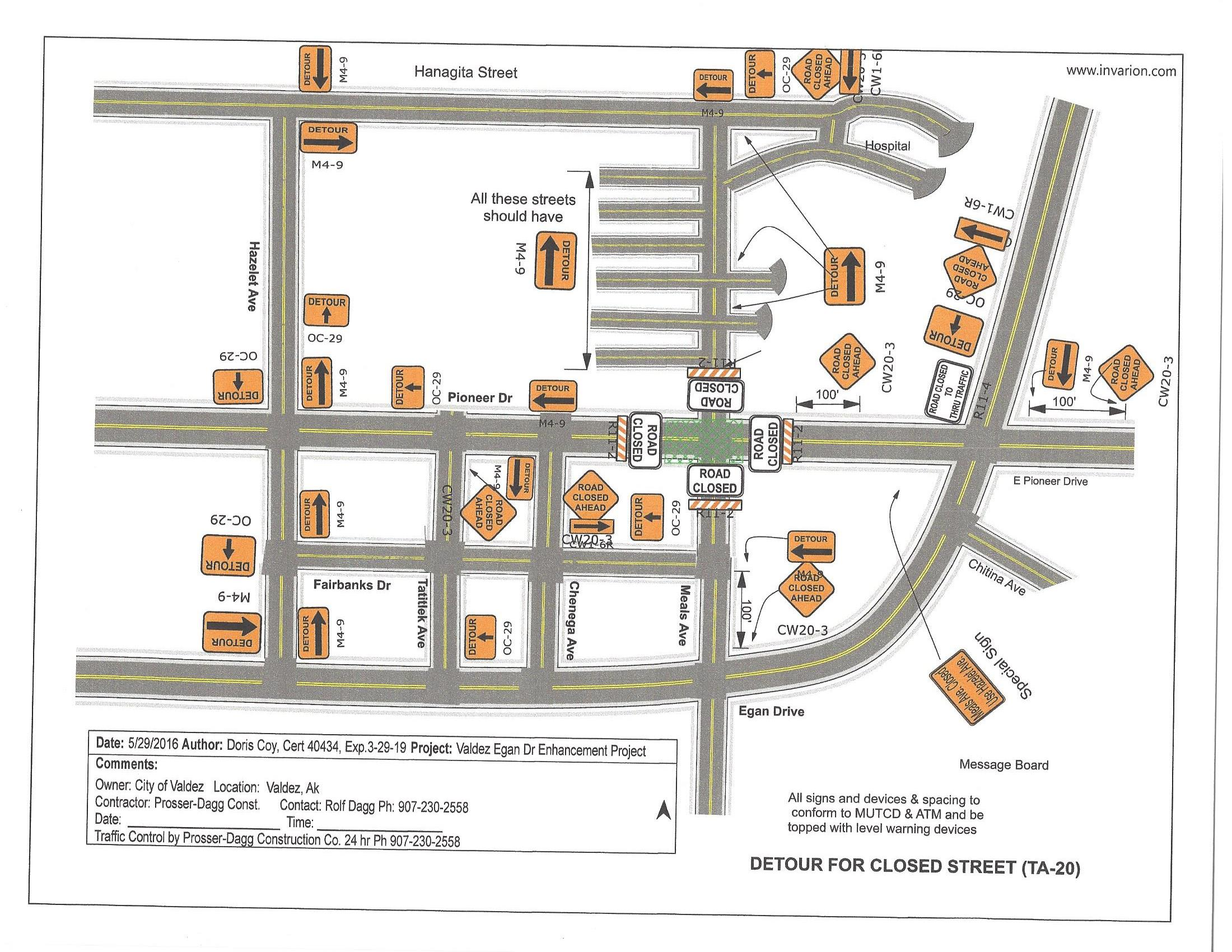 Meals Intersection Closure on Pioneer TCP